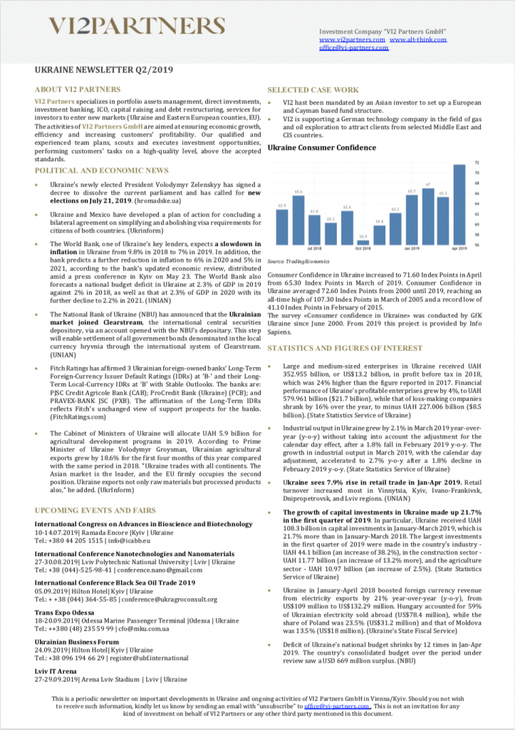 Ukraine Newsletter Q2 2019