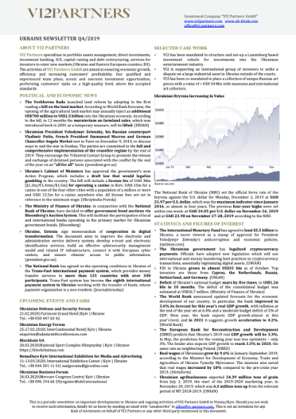 Ukraine Newsletter Q4/2019