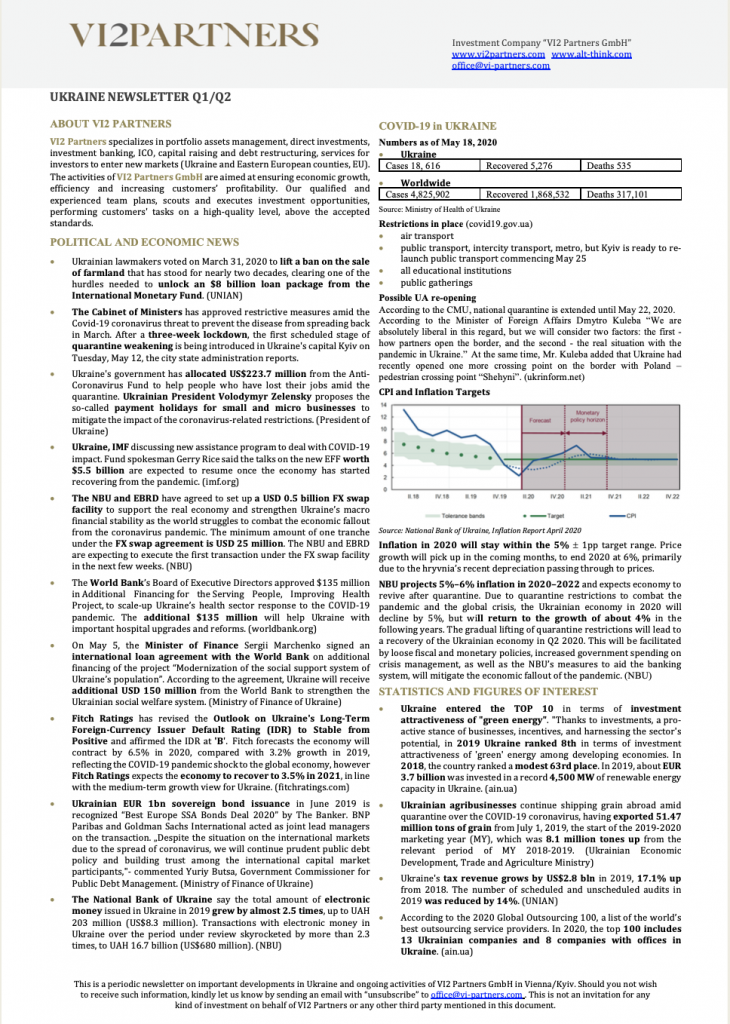 Ukraine Newsletter Q1/Q2 2020