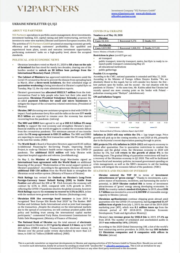 Ukraine Newsletter Q1/Q2 2020